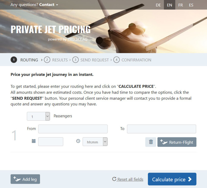 Private Jet price: get an quote right now! | PRO SKY - Own