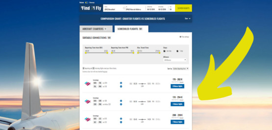 New on Find & Fly: ticket prices for scheduled flights
